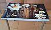 """Раскладной стол обеденный кухонный комплект стол и стулья 3D 3д """"Цветок ваниль"""" ДСП стекло 70*110 Mobilgen"""