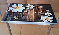 """Раскладной стол обеденный кухонный комплект стол и стулья 3D 3д """"Цветок ваниль"""" ДСП стекло 70*110 Mobilgen, фото 1"""