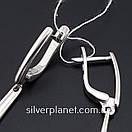 Стильні срібні сережки підвіски з камінням фіанітами родовані. Кульчики срібні висюльки з цирконієм, фото 5