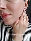 Стильні срібні сережки підвіски з камінням фіанітами родовані. Кульчики срібні висюльки з цирконієм, фото 10
