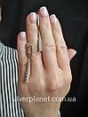 Стильні срібні сережки підвіски з камінням фіанітами родовані. Кульчики срібні висюльки з цирконієм, фото 3