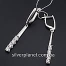 Стильні срібні сережки підвіски з камінням фіанітами родовані. Кульчики срібні висюльки з цирконієм, фото 4