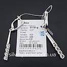 Стильні срібні сережки підвіски з камінням фіанітами родовані. Кульчики срібні висюльки з цирконієм, фото 7