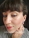 Стильні срібні сережки підвіски з камінням фіанітами родовані. Кульчики срібні висюльки з цирконієм, фото 2