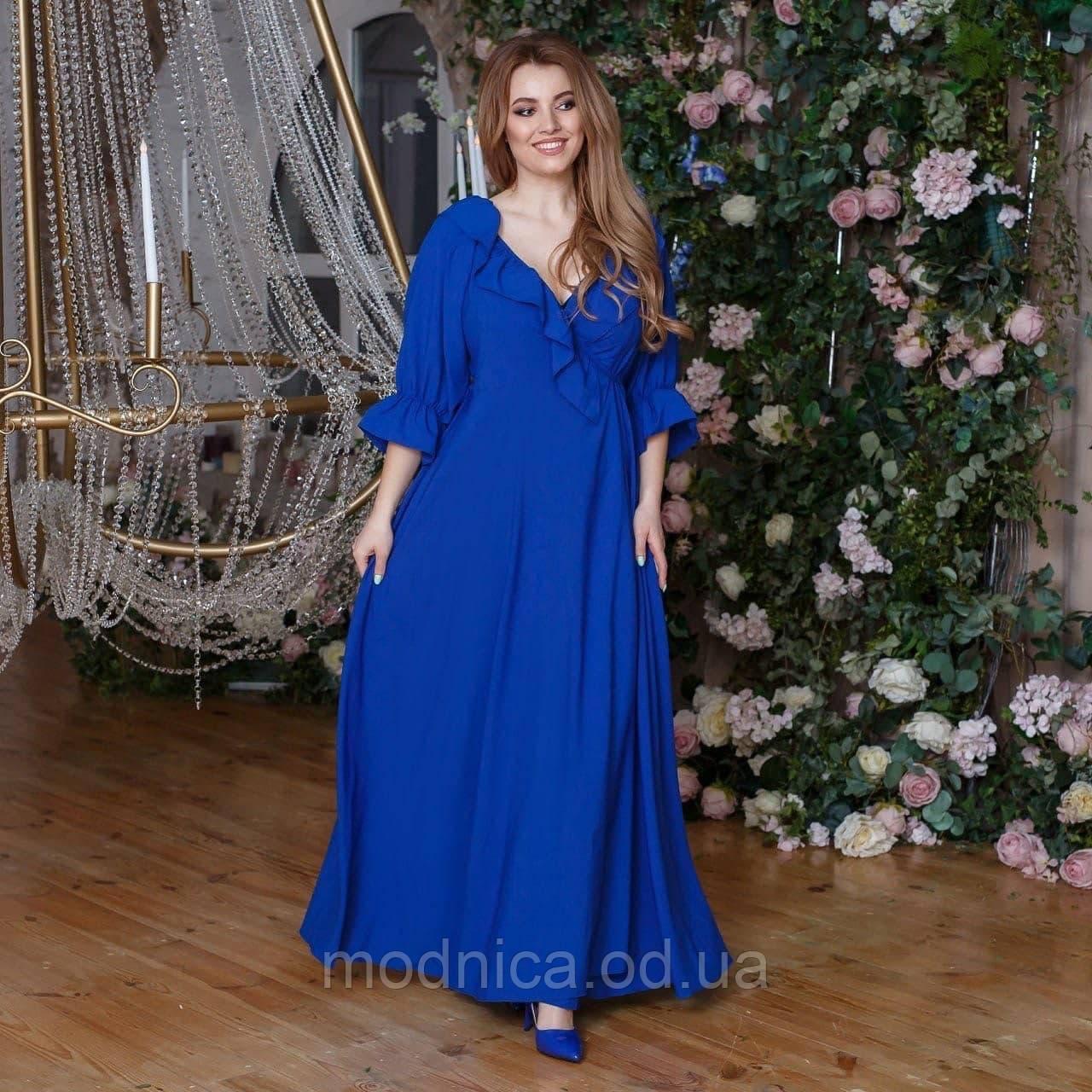 Летнее длинное женское платье на запах, размеры 48-52, 54-58, 60-64