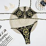 Принтованный купальник с вырезом на груди и высокими плавками бразилианы (р. S - L) 6825935, фото 9