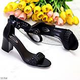 Босоножки женские черные на каблуке 7 см эко кожа, фото 2