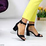 Босоножки женские черные на каблуке 7 см эко кожа, фото 3
