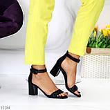 Босоножки женские черные на каблуке 7 см эко кожа, фото 4