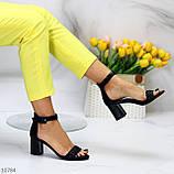Босоножки женские черные на каблуке 7 см эко кожа, фото 5