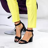 Босоножки женские черные на каблуке 7 см эко кожа, фото 6