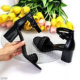 Босоножки женские черные на каблуке 7 см эко кожа, фото 7