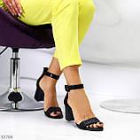 Босоножки женские черные на каблуке 7 см эко кожа, фото 8