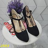 Туфлі з ремінцем замшеві на шпильці класика чорні 36, 37, 38, 39 р. (2583), фото 4