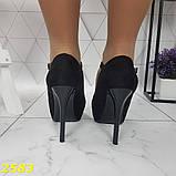 Туфлі з ремінцем замшеві на шпильці класика чорні 36, 37, 38, 39 р. (2583), фото 8