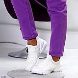Стильні жіночі кросівки білі текстиль + гума/ силікон, фото 2