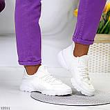 Стильні жіночі кросівки білі текстиль + гума/ силікон, фото 5