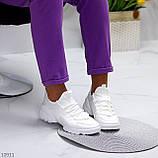 Женские кроссовки стильные белые текстиль + резина/ силикон, фото 6