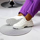 Женские кроссовки стильные белые текстиль + резина/ силикон, фото 7
