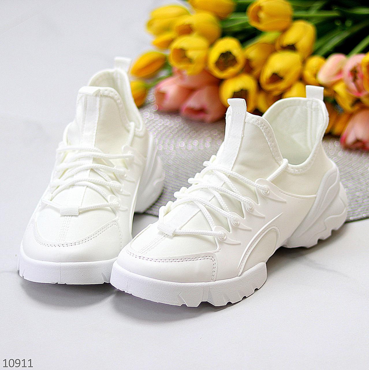 Стильні жіночі кросівки білі текстиль + гума/ силікон