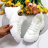 Женские кроссовки стильные белые текстиль + резина/ силикон, фото 8
