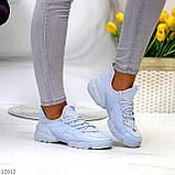 Стильні жіночі кросівки блакитні текстиль + гума/ силікон, фото 2