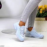 Стильні жіночі кросівки блакитні текстиль + гума/ силікон, фото 3