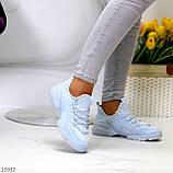Женские кроссовки стильные голубые текстиль + резина/ силикон, фото 3