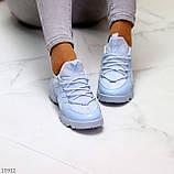Стильні жіночі кросівки блакитні текстиль + гума/ силікон, фото 4