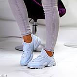 Стильні жіночі кросівки блакитні текстиль + гума/ силікон, фото 5