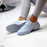 Стильні жіночі кросівки блакитні текстиль + гума/ силікон, фото 6
