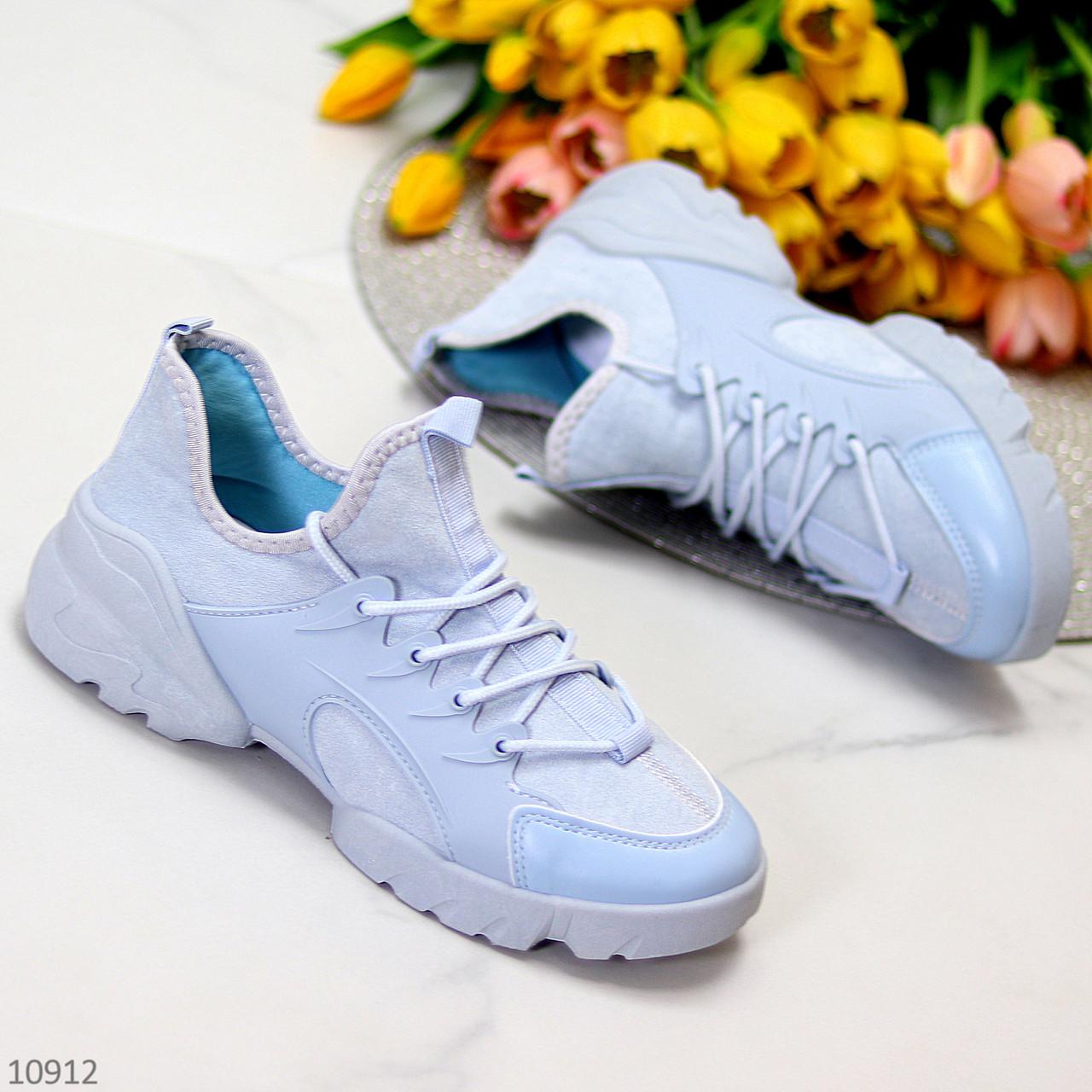 Женские кроссовки стильные голубые текстиль + резина/ силикон