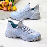Стильні жіночі кросівки блакитні текстиль + гума/ силікон, фото 7