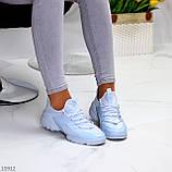 Стильні жіночі кросівки блакитні текстиль + гума/ силікон, фото 8
