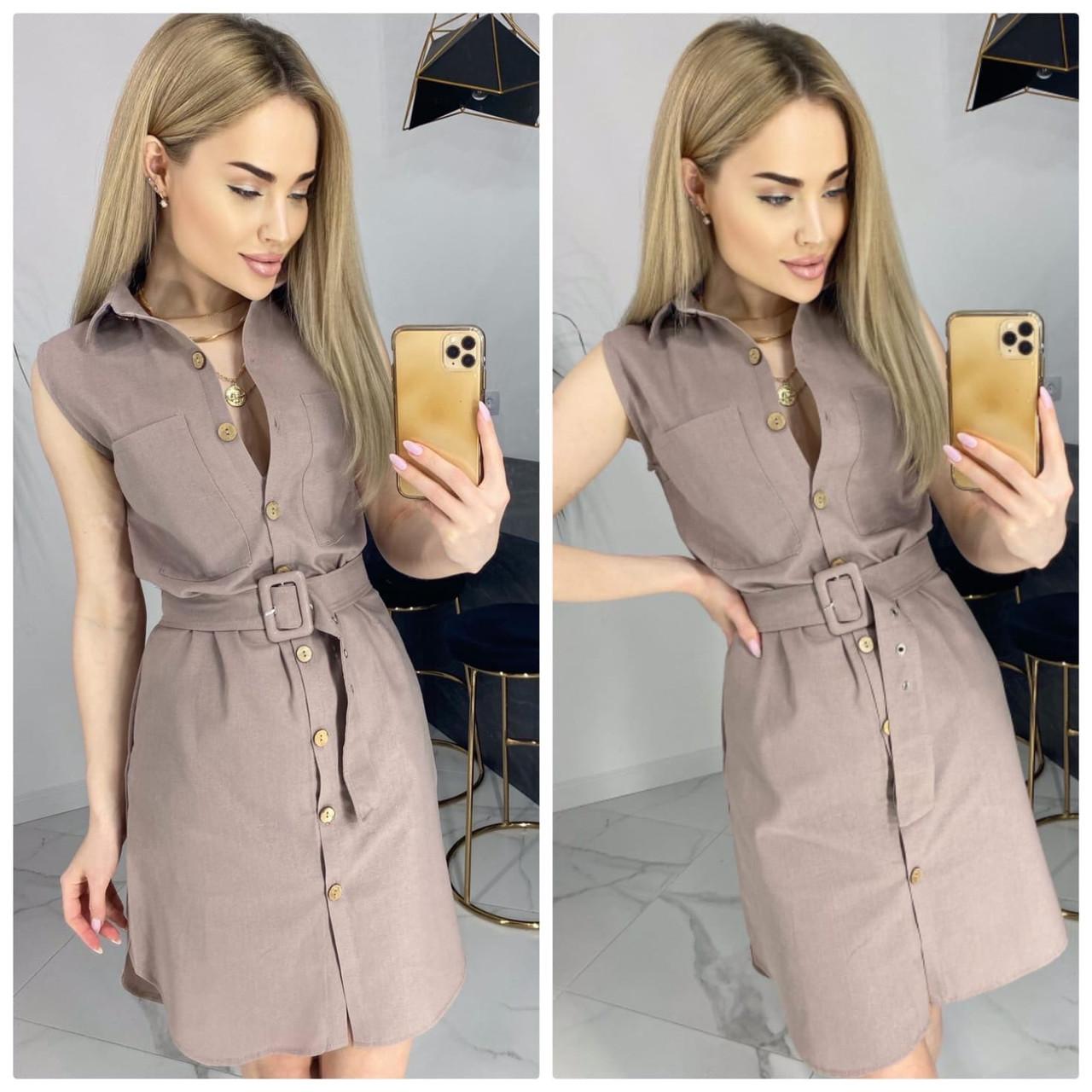 Платье-рубашка длиною до середины бедра без рукавов