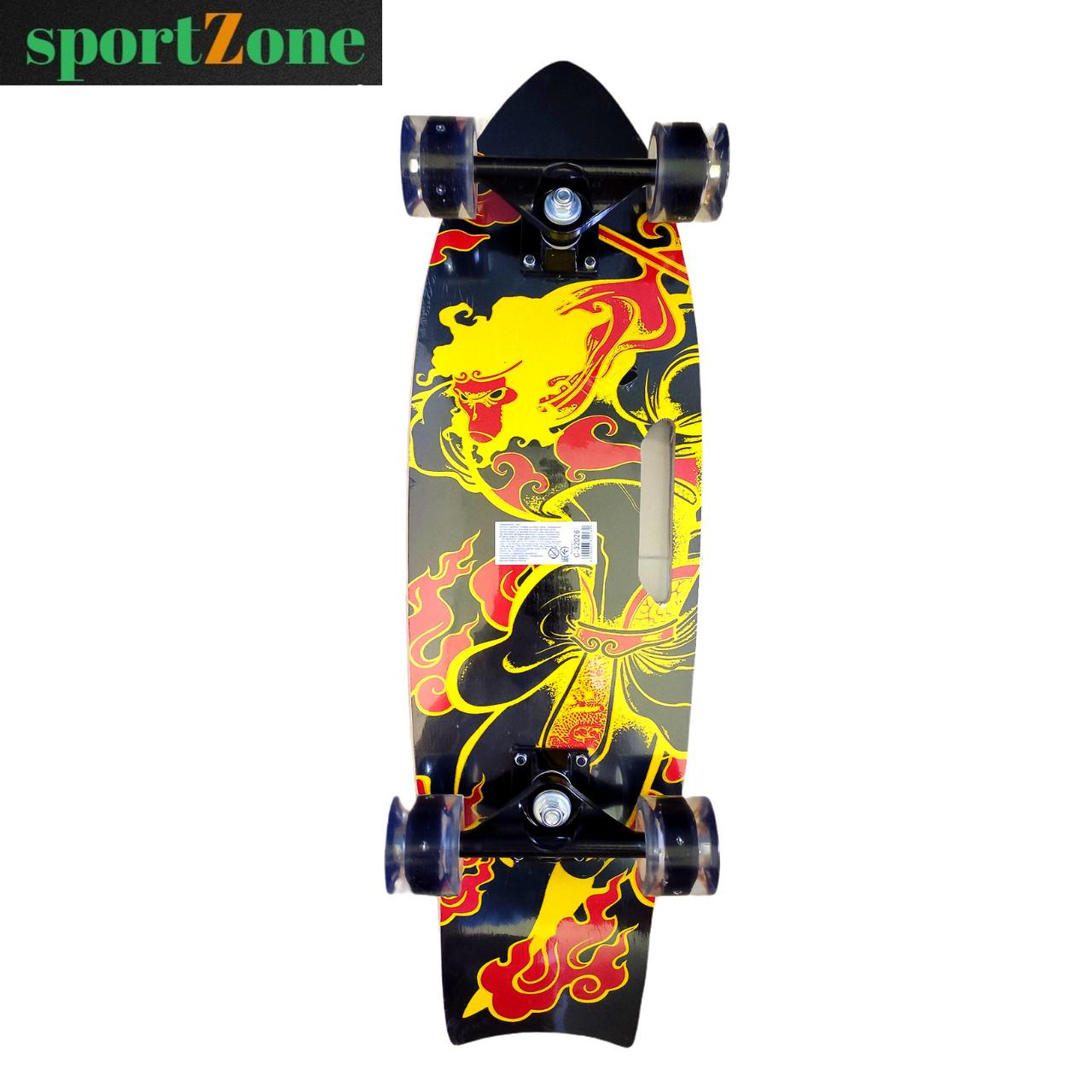 Скейт (скейтборд) 32026, подшипник АВЕС-9, колёса светящиеся PU, d=6 см, дека с ручкой