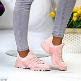 Кроссовки женские розовые- пудра текстиль + резина/ силикон, фото 2