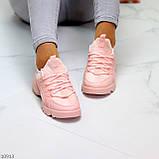 Кроссовки женские розовые- пудра текстиль + резина/ силикон, фото 3