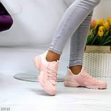 Кроссовки женские розовые- пудра текстиль + резина/ силикон, фото 4