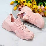 Кроссовки женские розовые- пудра текстиль + резина/ силикон, фото 9