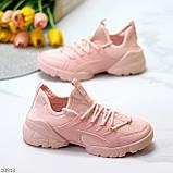 Кроссовки женские розовые- пудра текстиль + резина/ силикон, фото 5