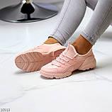 Кроссовки женские розовые- пудра текстиль + резина/ силикон, фото 8
