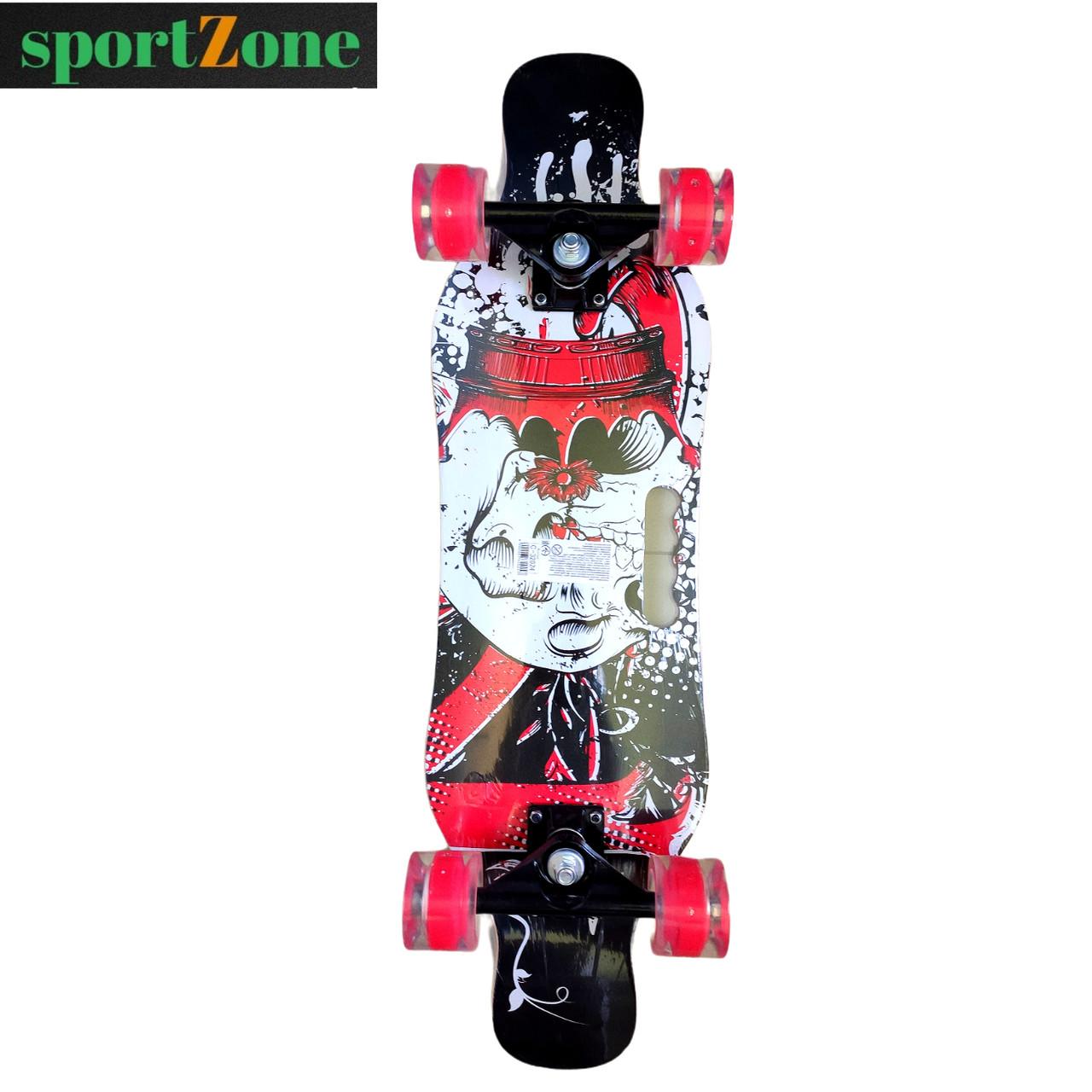 Скейт (скейтборд) 32024, подшипник АВЕС-9, колёса светящиеся PU, d=6 см, 6 слоев канадского клена