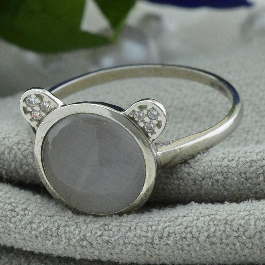 Кольцо серебряное женское вставка серый улексит размер 16