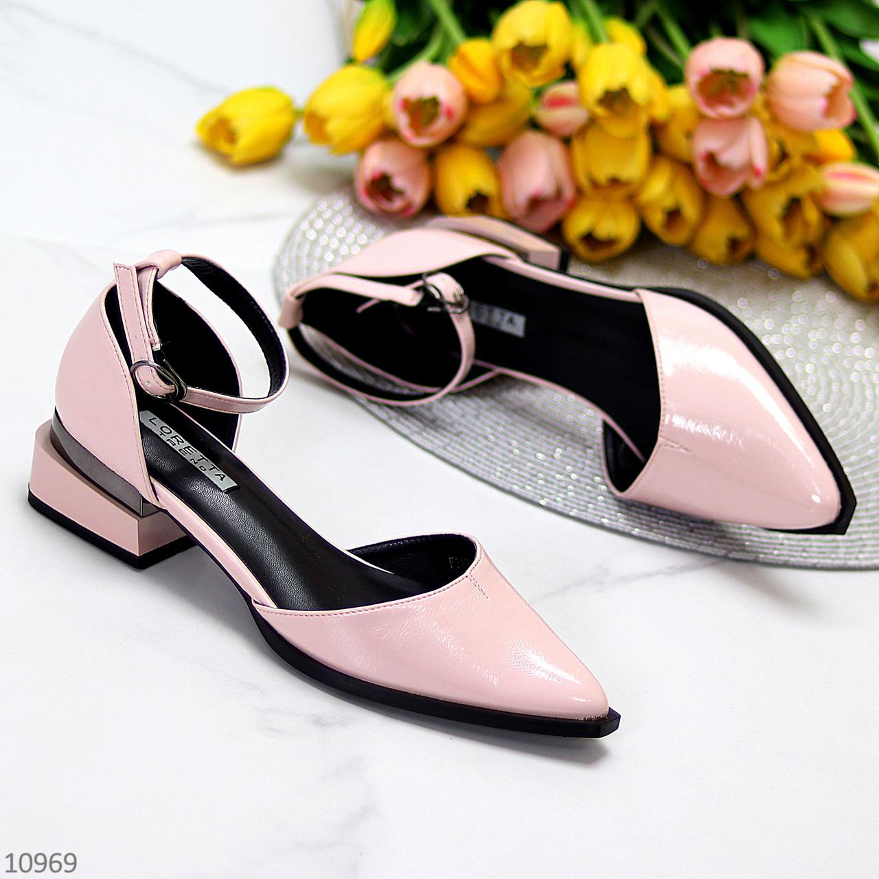 Туфли женские розовые с ремешком эко-лак на маленьком каблуке 4 см