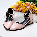 Туфли женские розовые с ремешком эко-лак на маленьком каблуке 4 см, фото 2