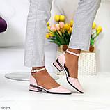 Туфли женские розовые с ремешком эко-лак на маленьком каблуке 4 см, фото 3