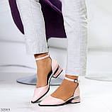 Туфли женские розовые с ремешком эко-лак на маленьком каблуке 4 см, фото 4