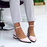 Туфли женские розовые с ремешком эко-лак на маленьком каблуке 4 см, фото 6