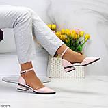 Туфли женские розовые с ремешком эко-лак на маленьком каблуке 4 см, фото 8